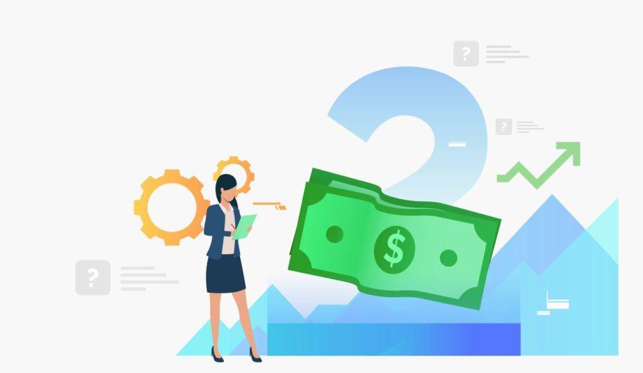 女性とドル紙幣があるイラスト画像