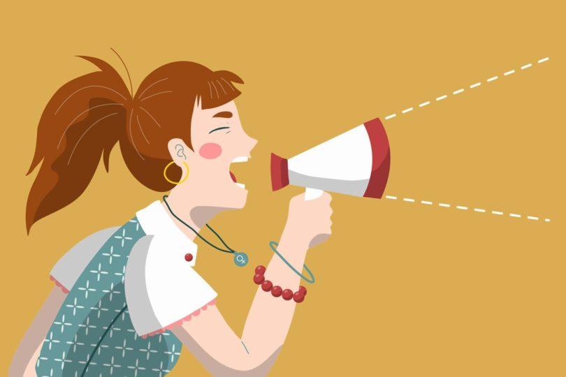 メガホンをもって叫んでいる女性のイラスト