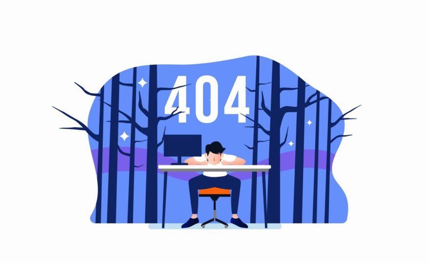 404が表示されたイラスト画像