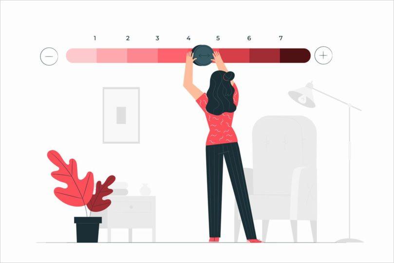 女性が評価を4.5にしているイラスト画像